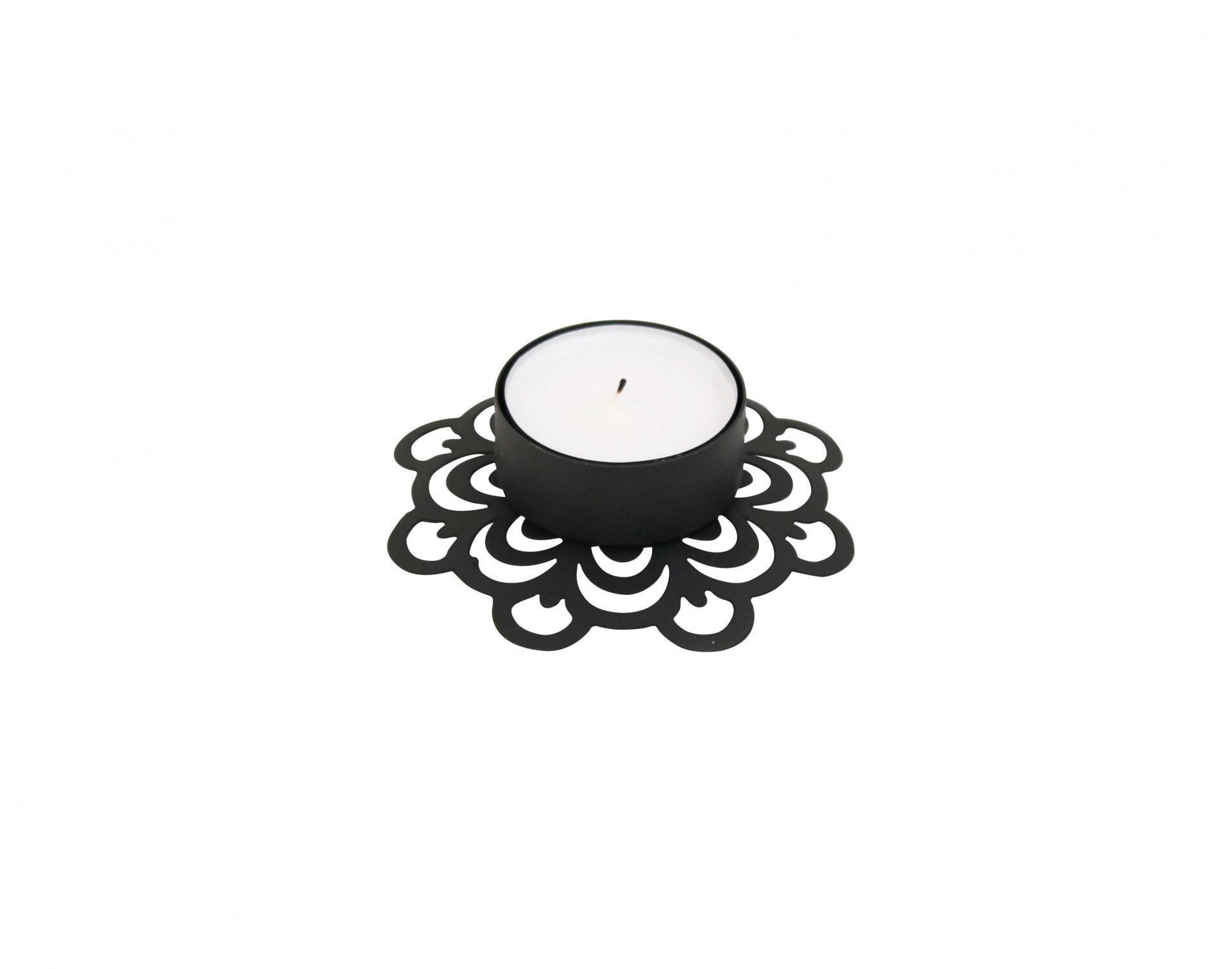 Krasilnikoff Zinkový svícínek Deco Black, černá barva, zinek