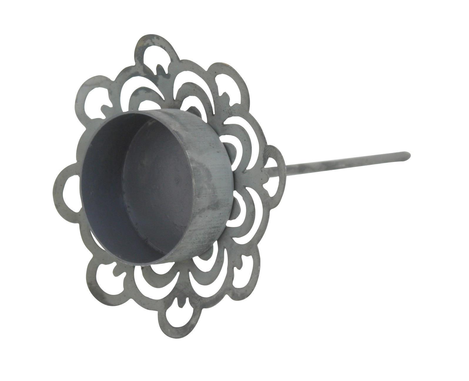 Krasilnikoff Zápich na čajovou svíčku Deco Zinc, šedá barva, zinek