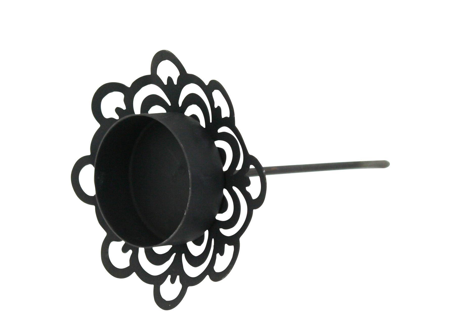 Krasilnikoff Zápich na čajovou svíčku Deco Black, černá barva, zinek