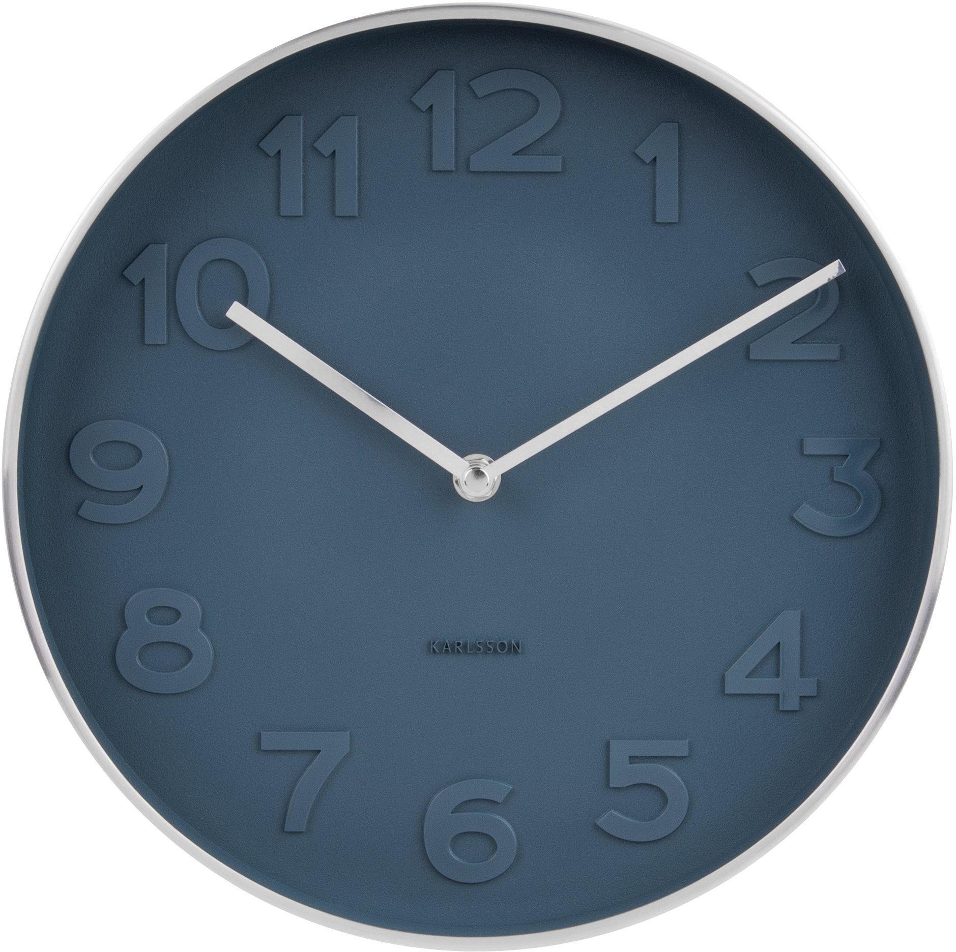 Karlsson Nástěnné hodiny Mr. Blue Silver, modrá barva, stříbrná barva, sklo, kov