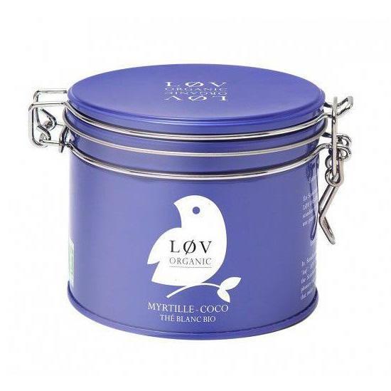 Løv Organic Bílý čaj Blueberry Coconut - 70 g, fialová barva, kov