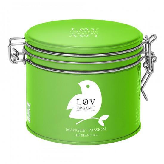 Løv Organic Bílý čaj Mango Passion fruit - 70 g, zelená barva, kov