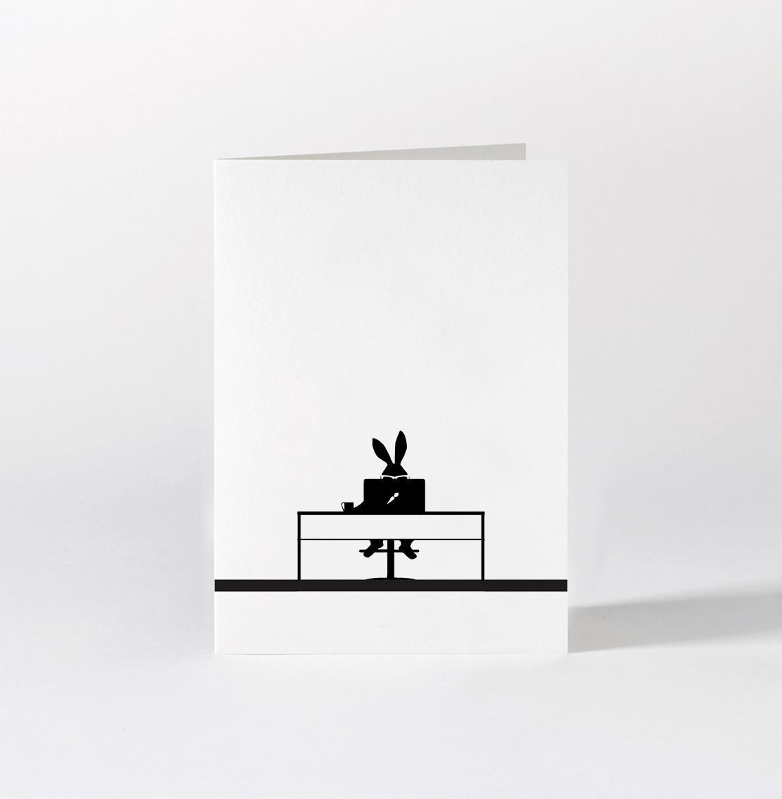 HAM Papírové přání s králíkem Working Rabbit, černá barva, papír
