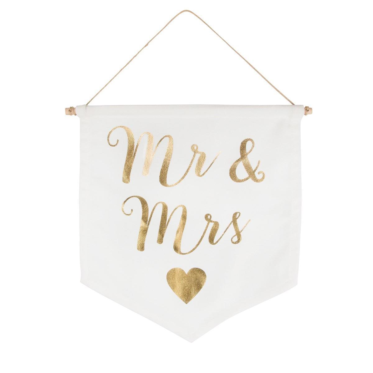 sass & belle Dekorativní vlaječka Mr & Mrs, bílá barva, zlatá barva, dřevo, textil