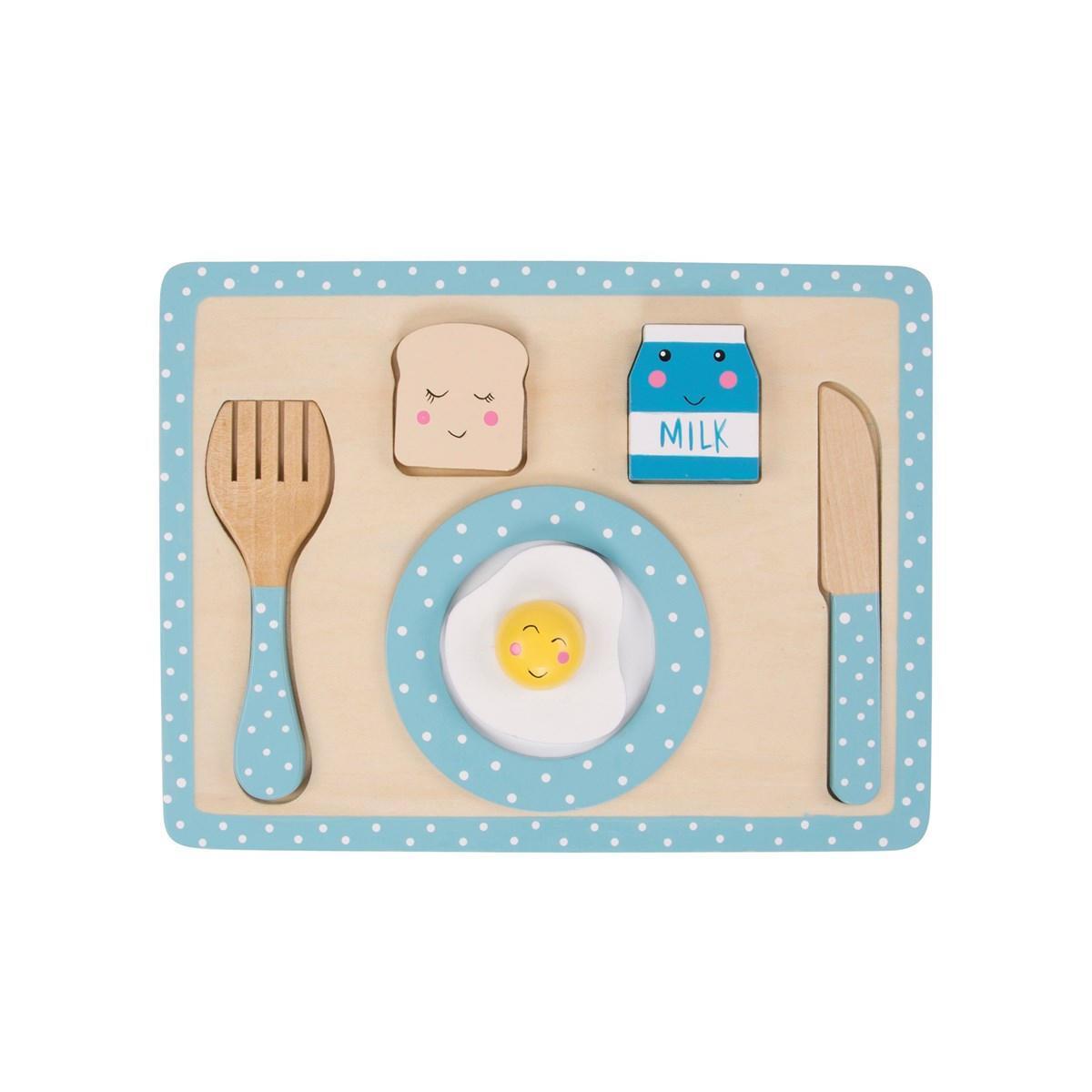 sass & belle Hračka pro děti Snídaňový set, modrá barva, dřevo