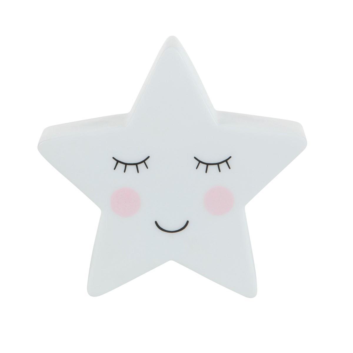 sass & belle Dětská noční LED lampička Star, bílá barva, plast