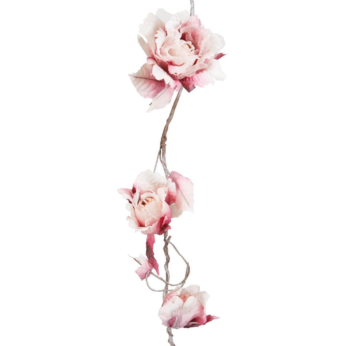 sass & belle Květinová vintage girlanda Ivory Dark Pink, růžová barva, plast, textil