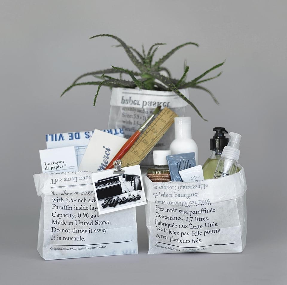 be-pôles Úložný sáček z voskovaného papíru La Corbeille en Papier - set 8 ks, černá barva, bílá barva, papír