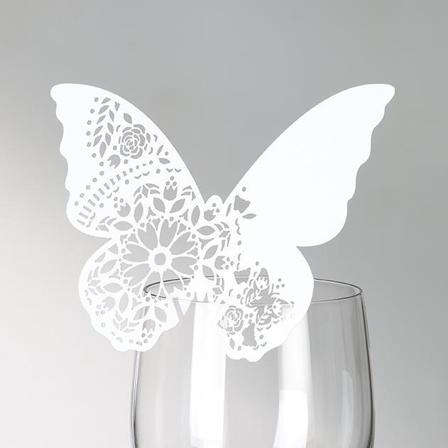 Talking Tables Papírové jmenovky na skleničky Romance - set 10 ks, bílá barva, papír