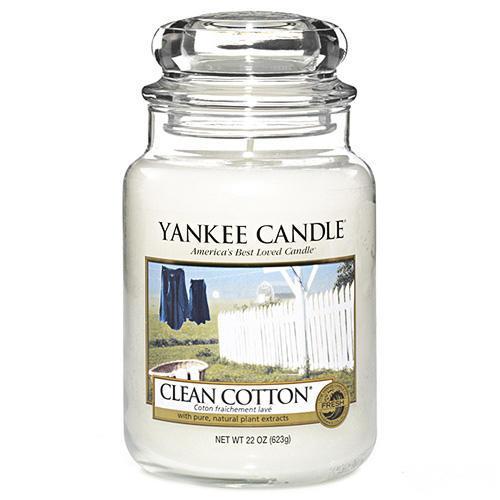 Yankee Candle Svíčka Yankee Candle 623gr - Clean Cotton, bílá barva, sklo, vosk