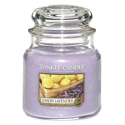 Yankee Candle Svíčka Yankee Candle 411gr - Lemon Lavender, fialová barva, sklo, vosk