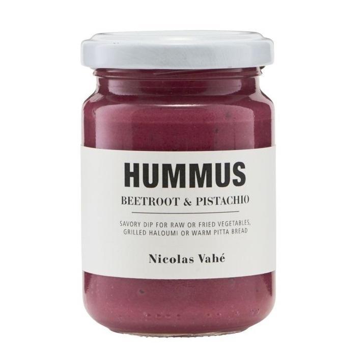 Nicolas Vahé Hummus s červenou řepou a pistáciemi 130 g, růžová barva, sklo