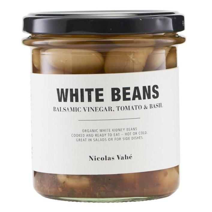 Nicolas Vahé Bílé fazole s balsamicem, rajčaty a bazalkou 325 g, béžová barva, sklo