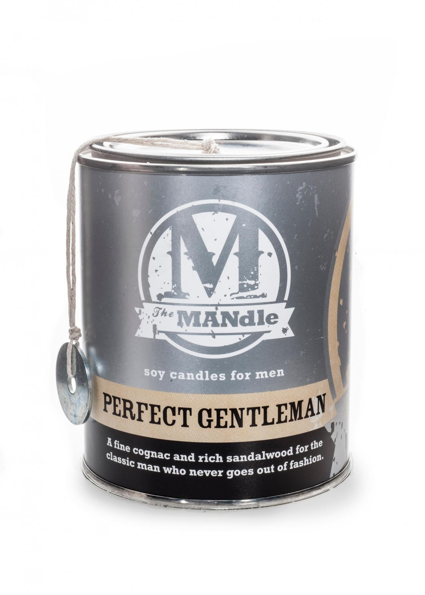 The MANdle MANdle svíčka v plechovce - Perfect Gentleman, šedá barva, kov