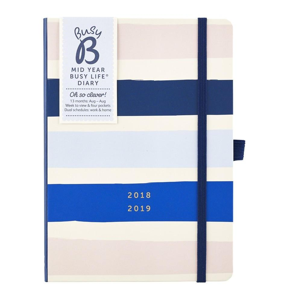 Busy B Diář Stripes Busy Life 2018/2019, modrá barva, papír