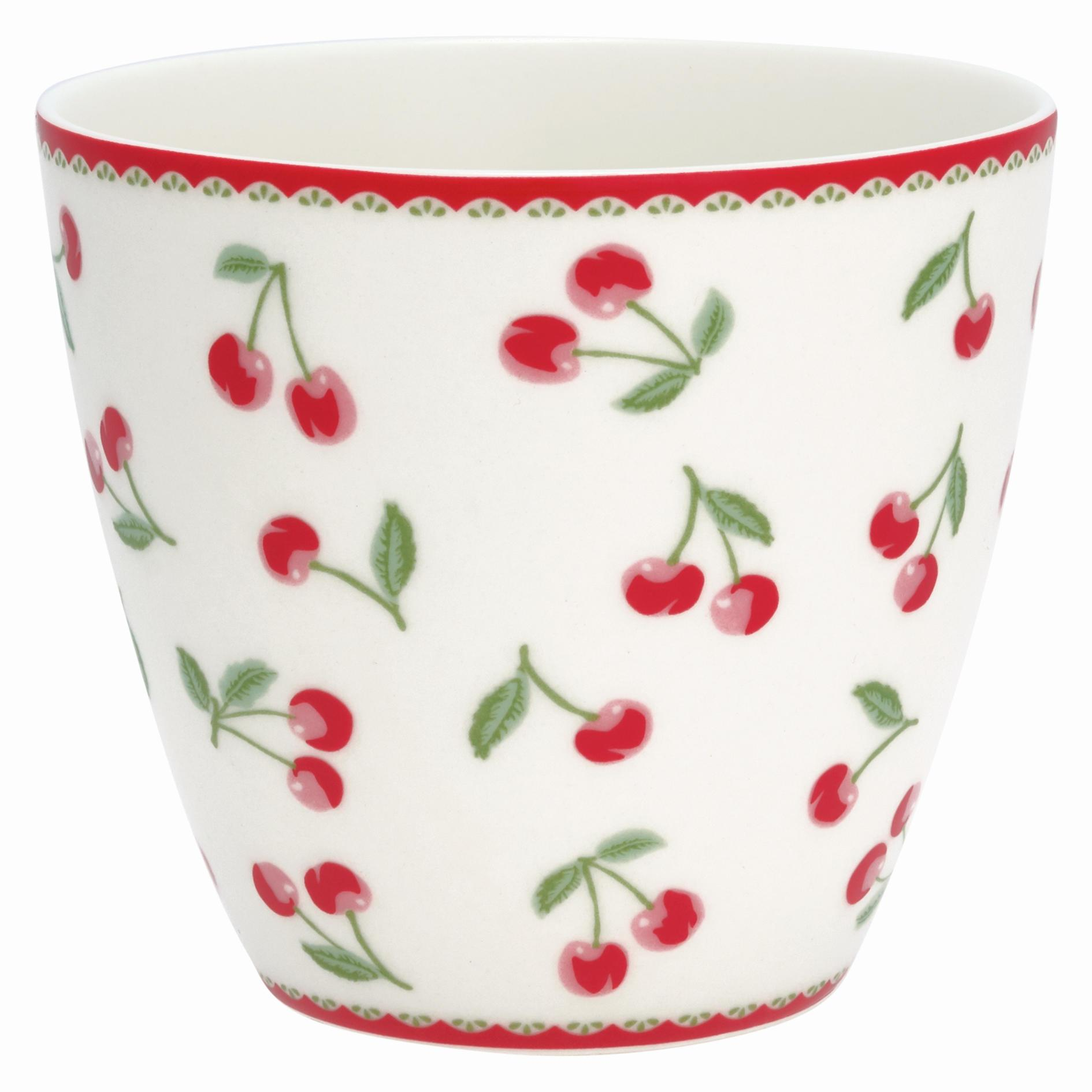 GREEN GATE Latte cup Cherry white 350ml, červená barva, bílá barva, porcelán 350 ml