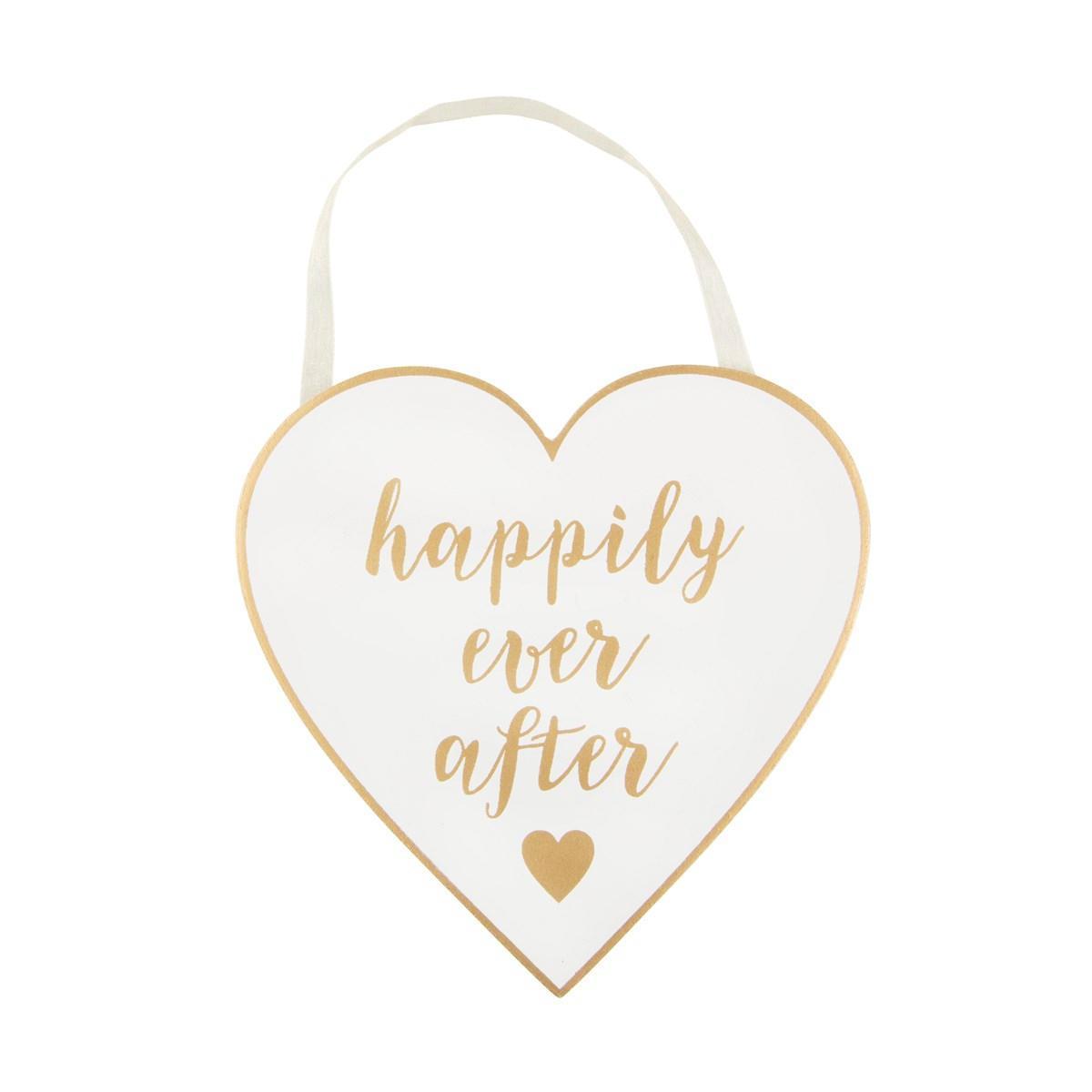 sass & belle Dekorativní srdce Happily, bílá barva, zlatá barva, dřevo