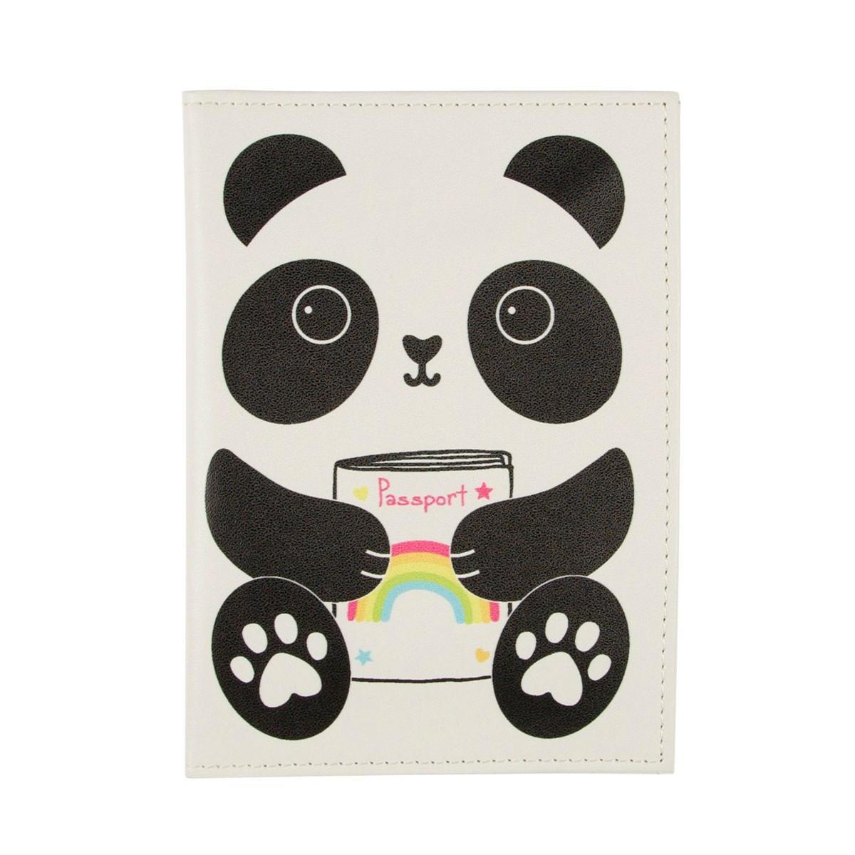 sass & belle Obal na cestovní doklady Panda Kawaii, černá barva, bílá barva, plast