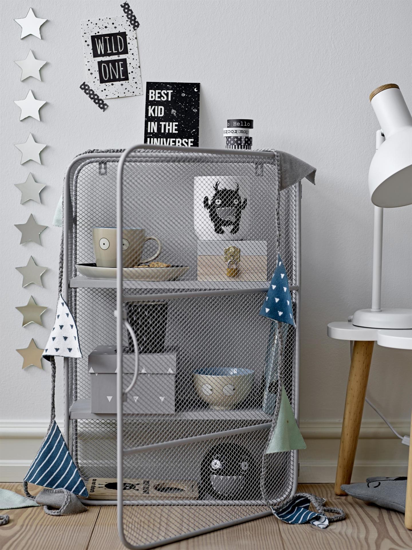 Bloomingville Kovová skříňka Grey, šedá barva, dřevo, kov