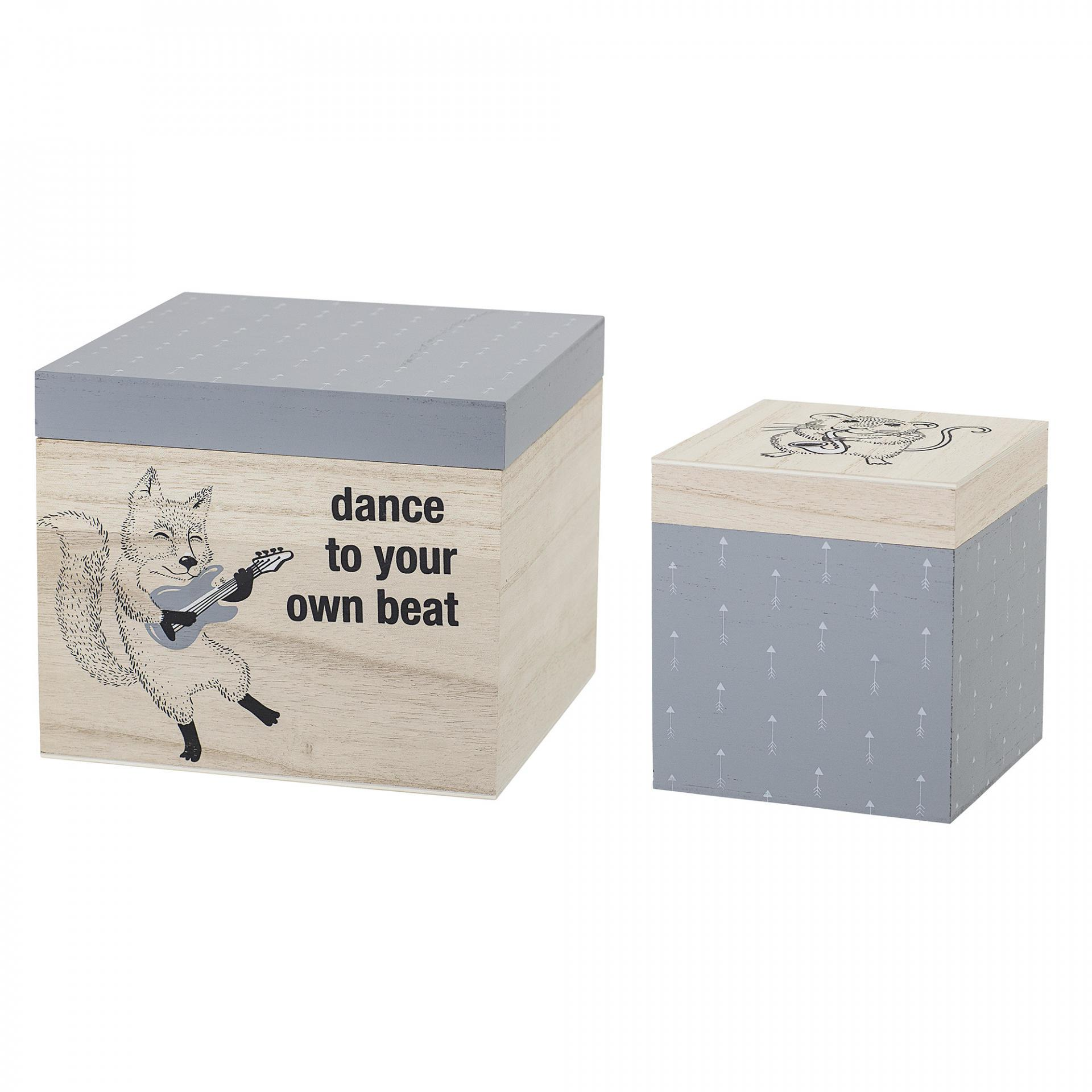 Bloomingville Úložný box Grey - set 2ks, šedá barva, hnědá barva, dřevo