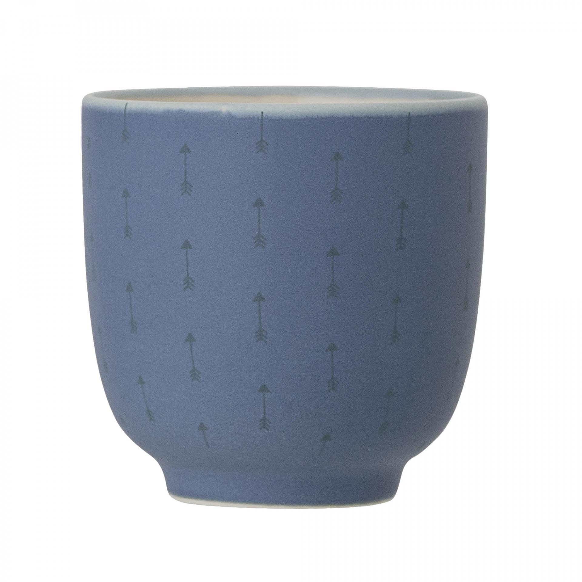 Bloomingville Keramický kalíšek Blue Arrow 170ml, modrá barva, béžová barva, keramika