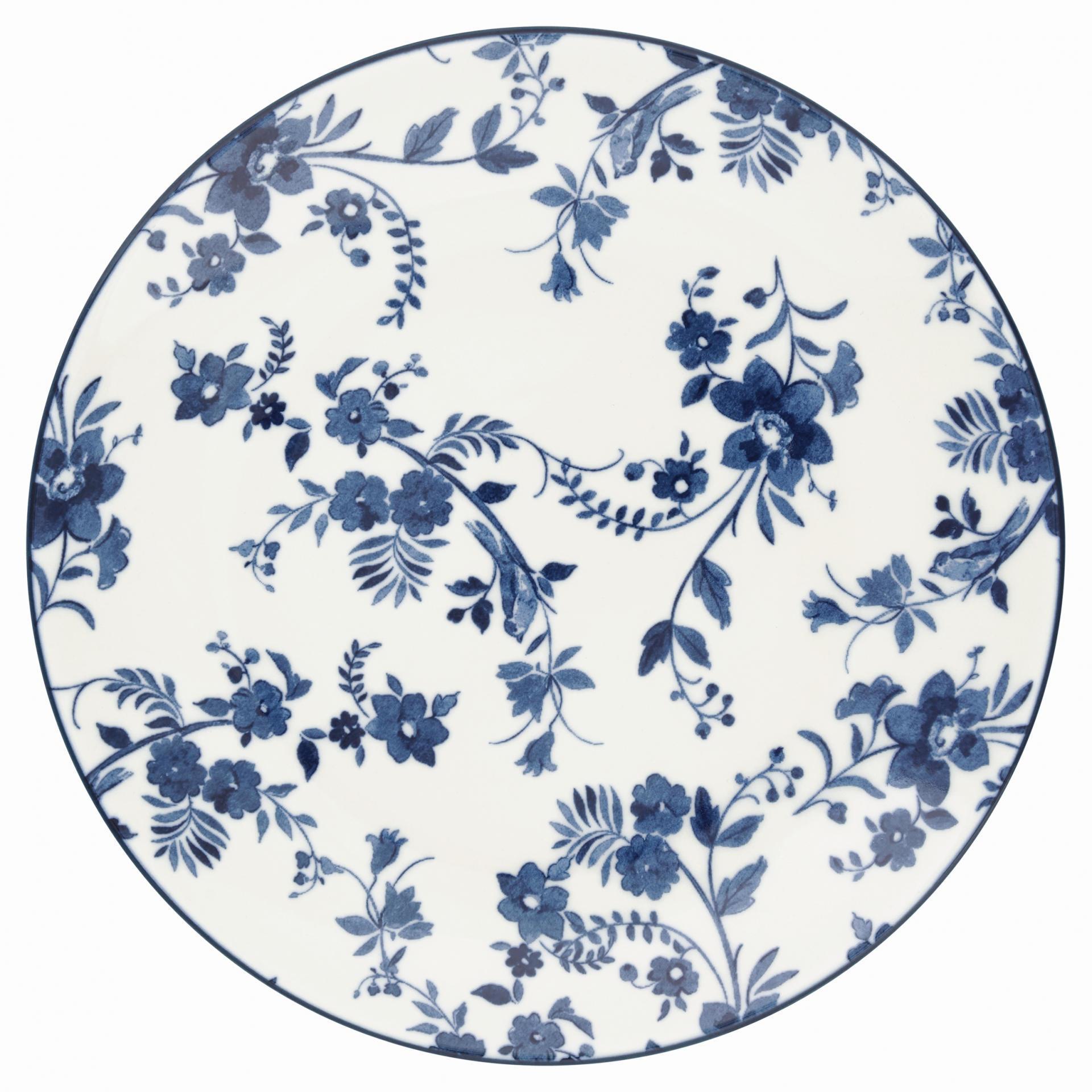 GREEN GATE Dezertní talíř Vanessa blue, modrá barva, bílá barva, porcelán