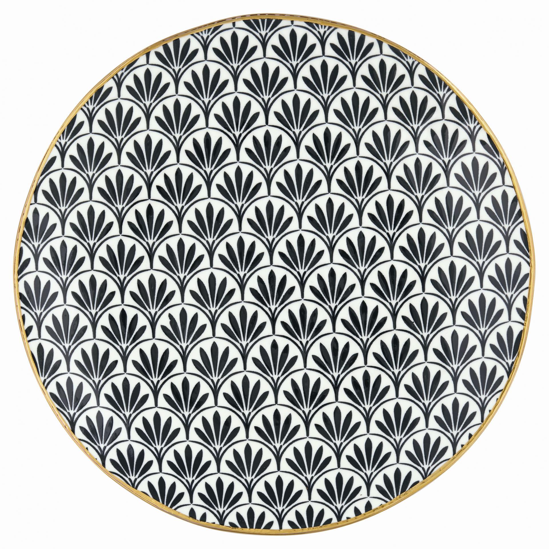 GREEN GATE Dezertní talíř Victoria black, černá barva, zlatá barva, porcelán 21 cm
