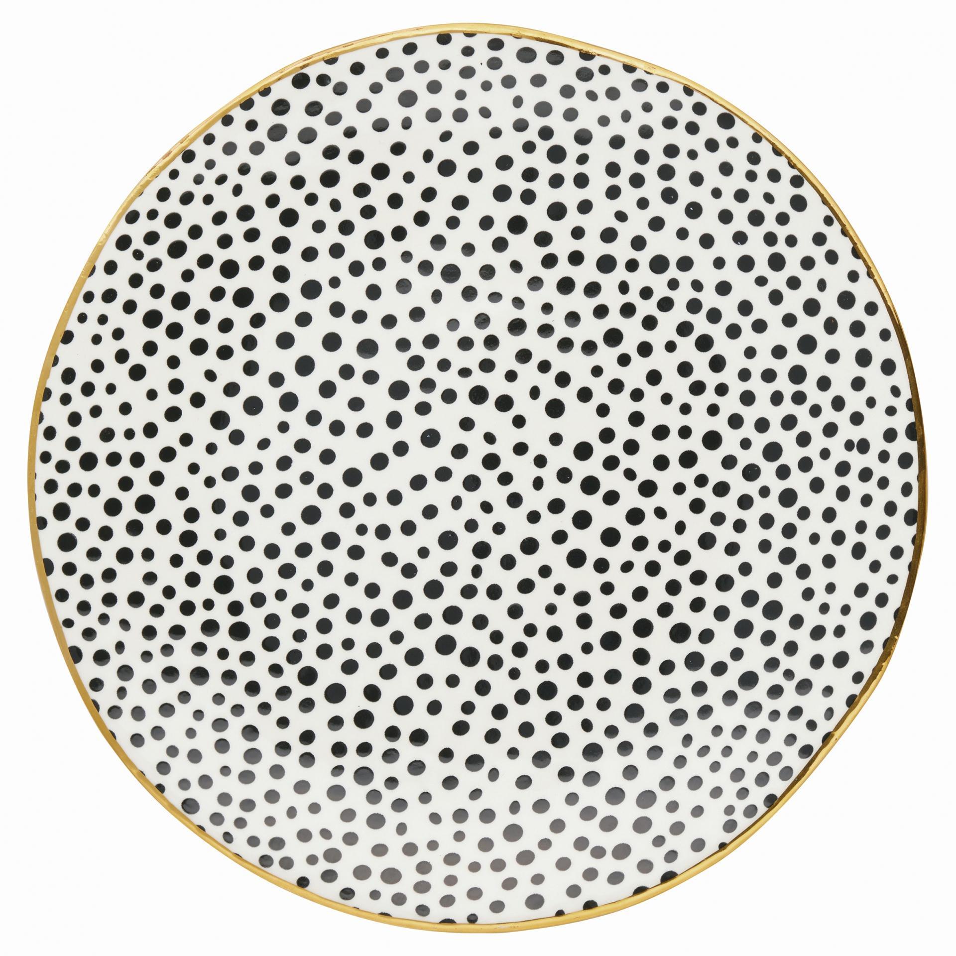 GREEN GATE Obědový talíř Dot black 26cm, černá barva, porcelán