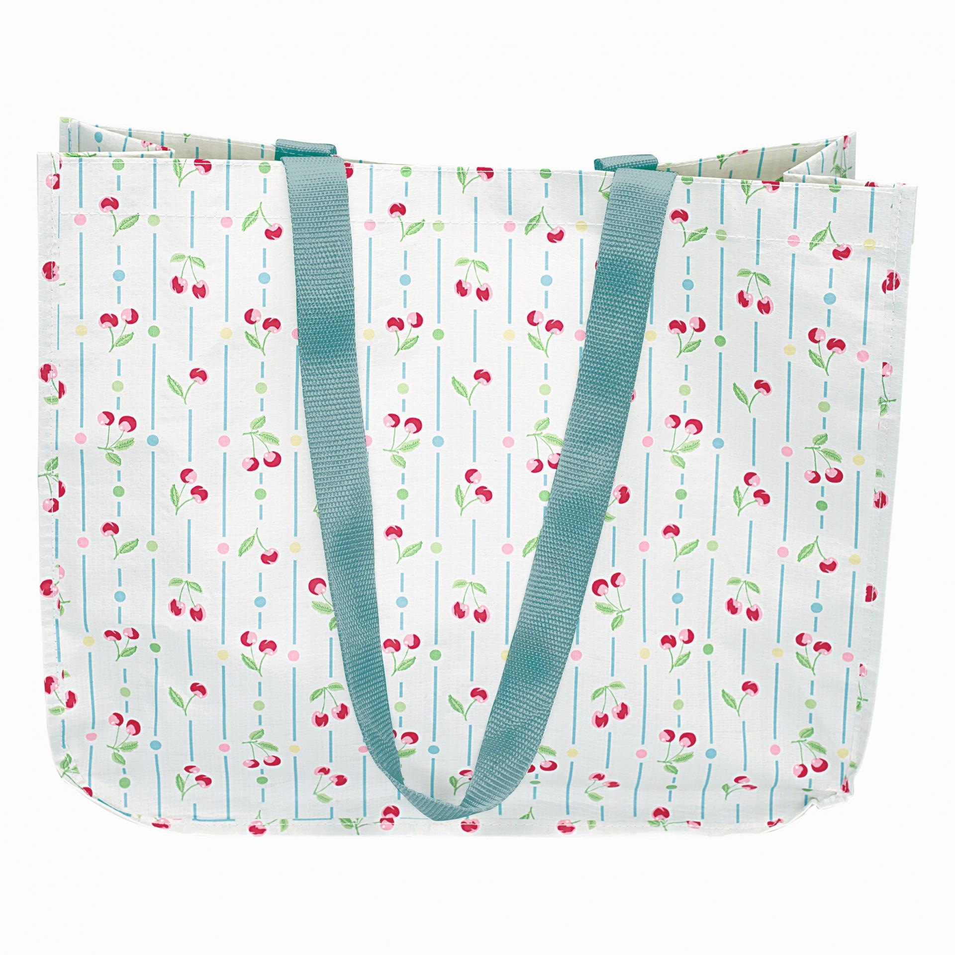 GREEN GATE Nákupní taška Cherry white, modrá barva, plast