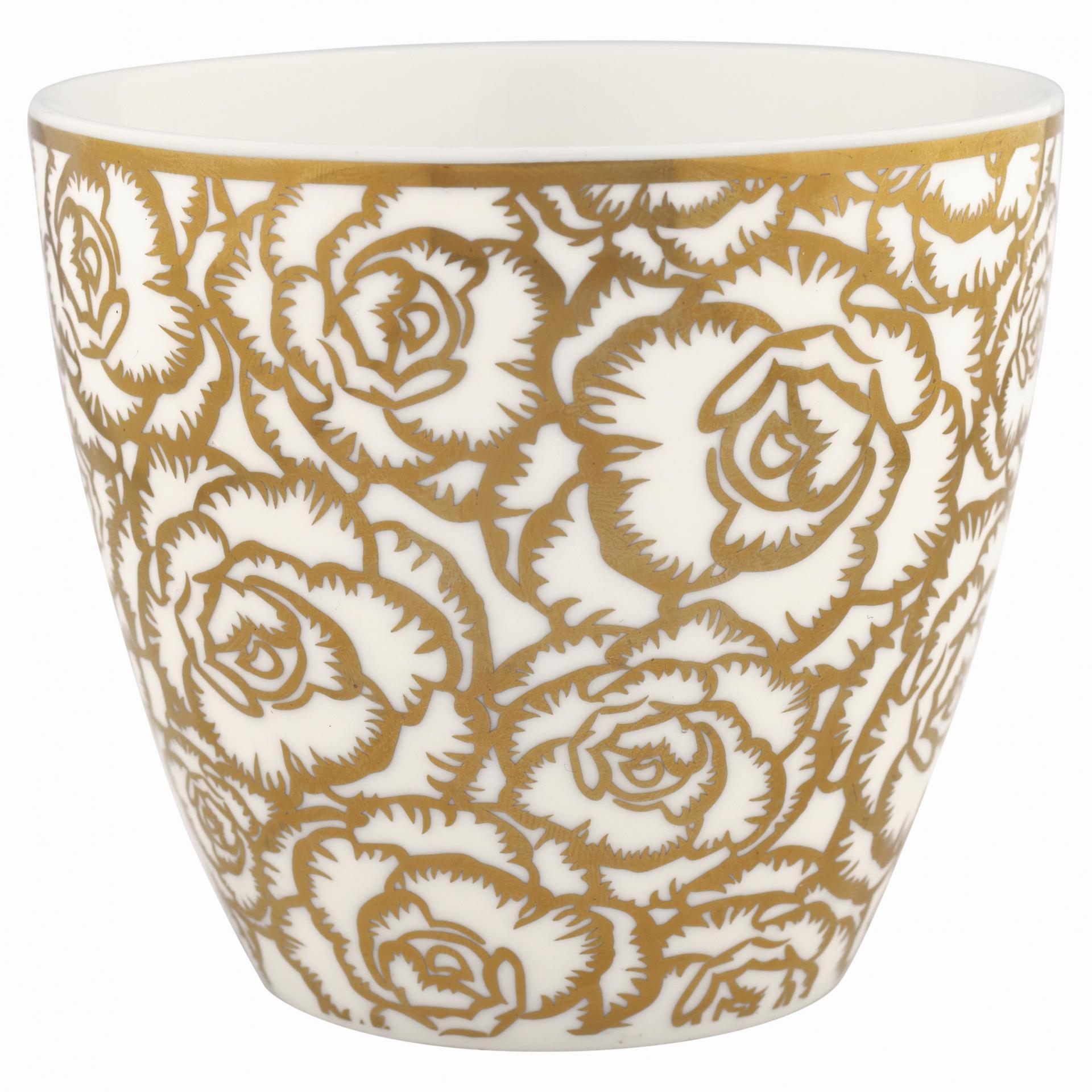GREEN GATE Latte cup Blossom gold Gate Noir 300ml, bílá barva, zlatá barva, porcelán 300 ml