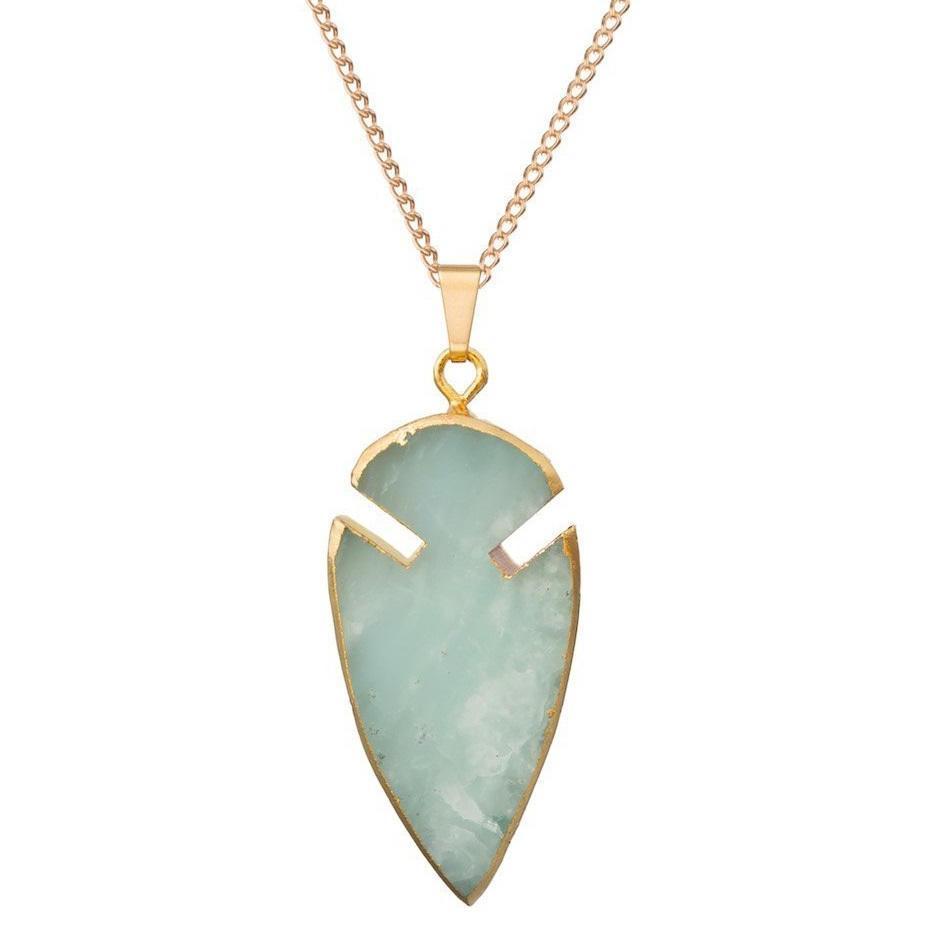 DECADORN Řetízek s přívěskem Arrow Jade Mint green/Gold, zelená barva, zlatá barva, kov, kámen