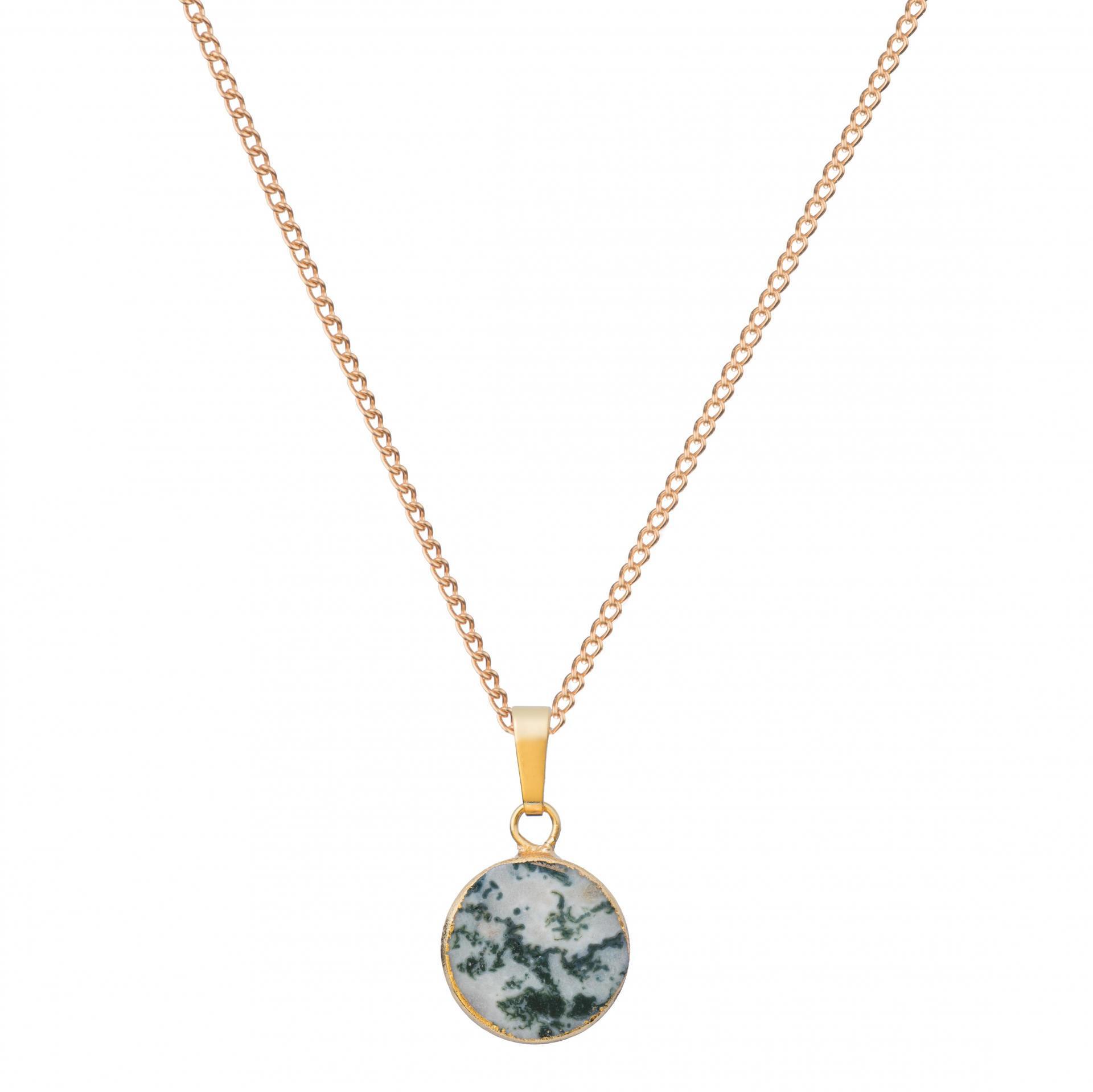 DECADORN Řetízek s přívěskem Circle Jasper Marble green/Gold, zelená barva, zlatá barva, kov, kámen