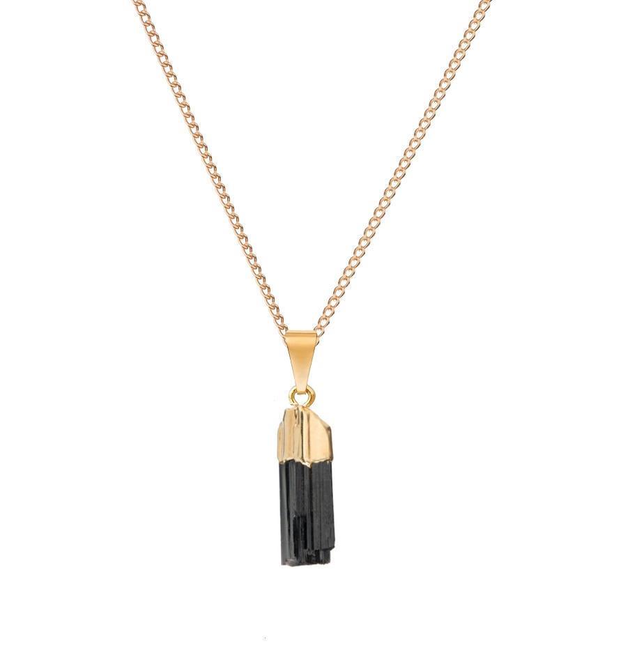 DECADORN Řetízek s přívěskem Tourmaline/Gold, černá barva, zlatá barva, kov, kámen