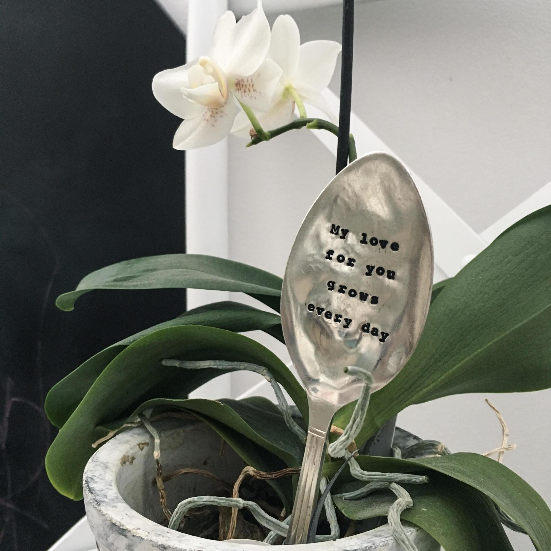La de da! Living Postříbřený zápich do květináče My love, stříbrná barva, kov