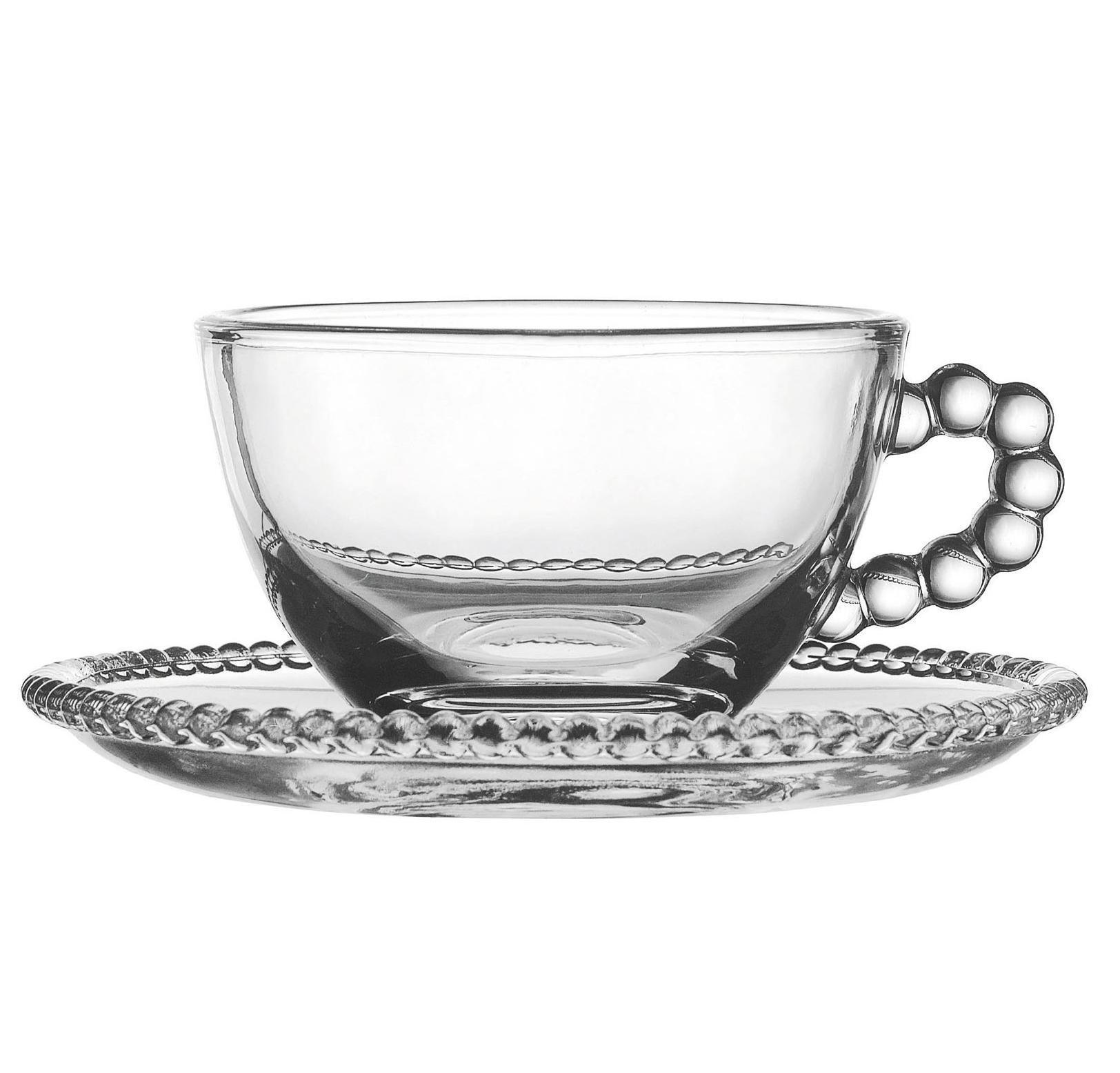 CÔTÉ TABLE Skleněný šálek s podšálkem Pearl, čirá barva, sklo