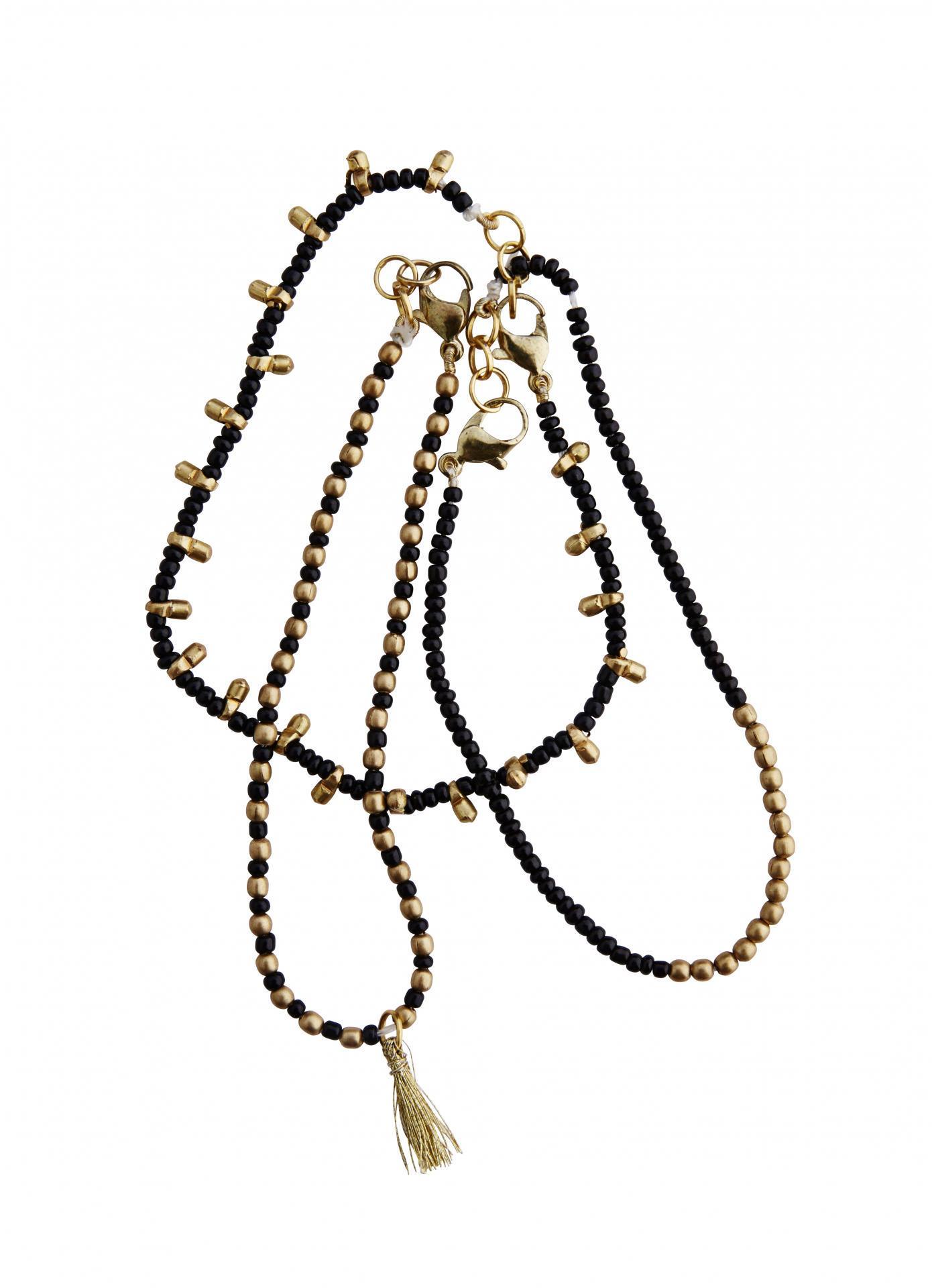 MADAM STOLTZ Set tří náramků Nai Disha Black/Gold, černá barva, zlatá barva, plast