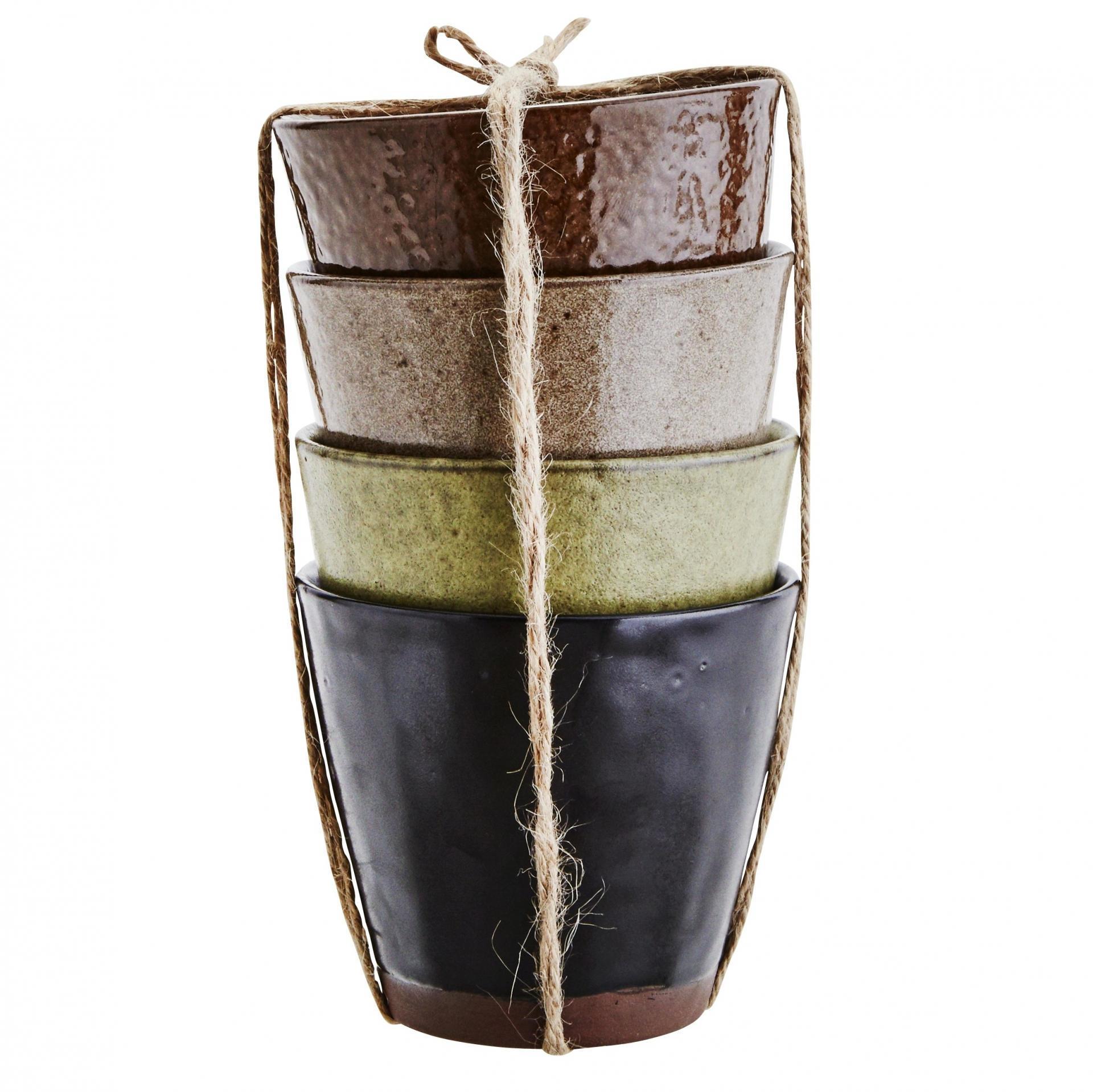 MADAM STOLTZ Kameninový hrneček Stone Černý, zelená barva, béžová barva, černá barva, hnědá barva, keramika