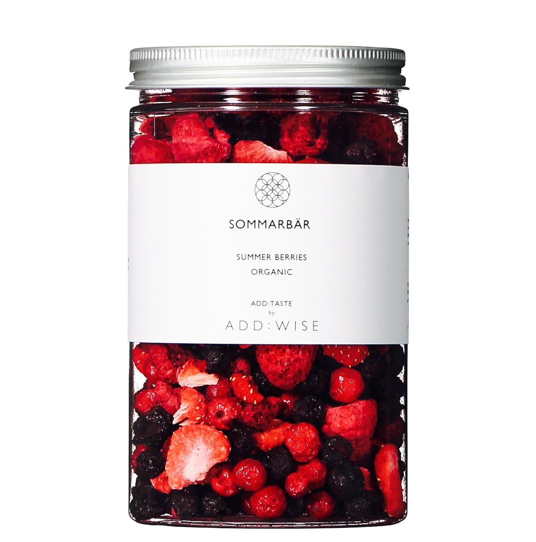 ADD:WISE Křupavé BIO červené ovoce 35gr, červená barva, čirá barva, plast