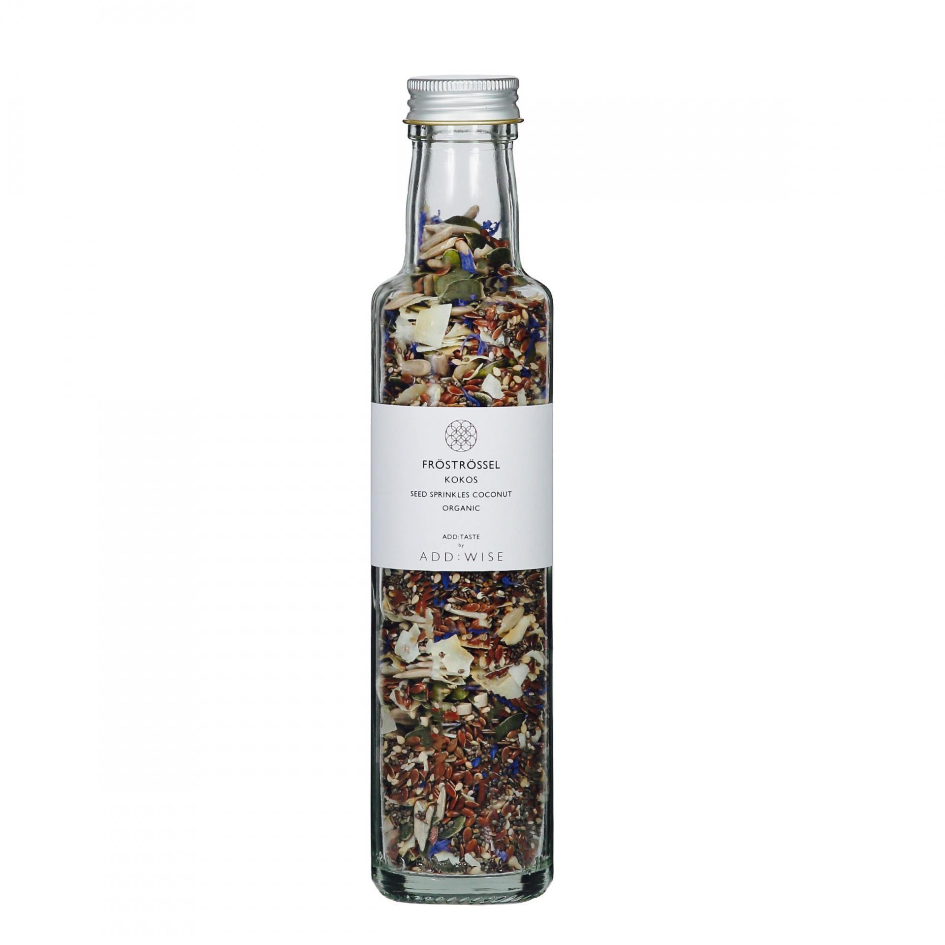 ADD:WISE Mix semínek s kokosem a květem chrpy 125gr, čirá barva, sklo