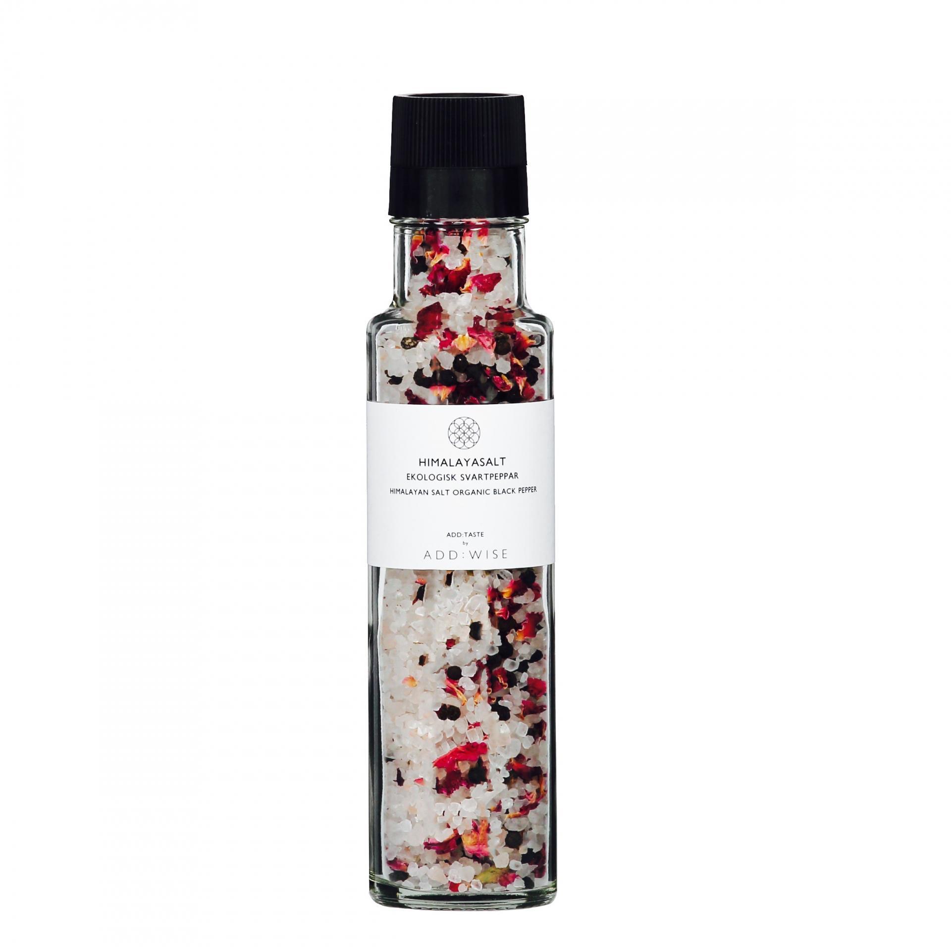 ADD:WISE Himalájská sůl s pepřem a květy růže 290gr, růžová barva, čirá barva, sklo
