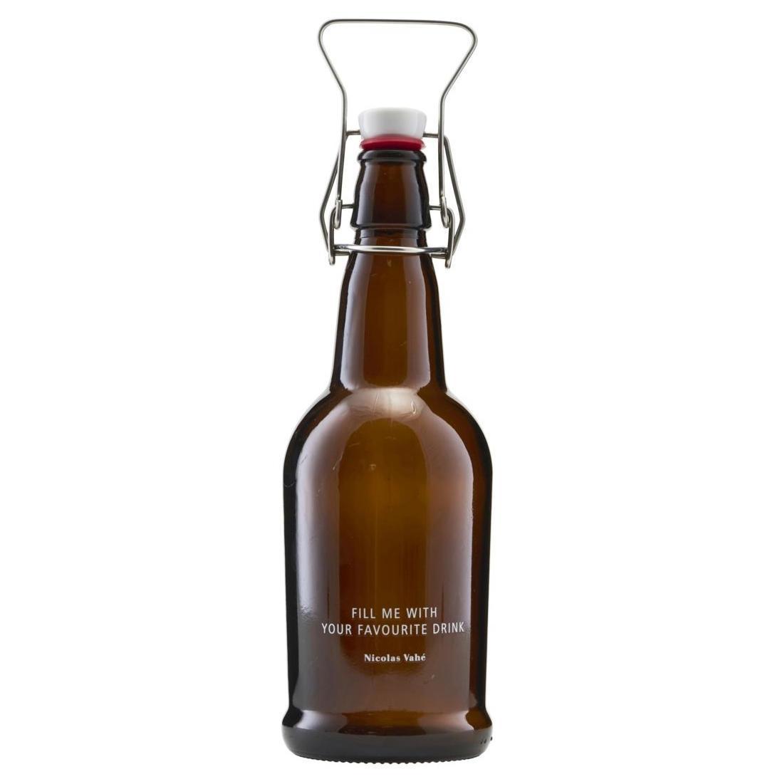 Nicolas Vahé Skleněná lahev s klipem 480 ml - hnědá, hnědá barva, sklo