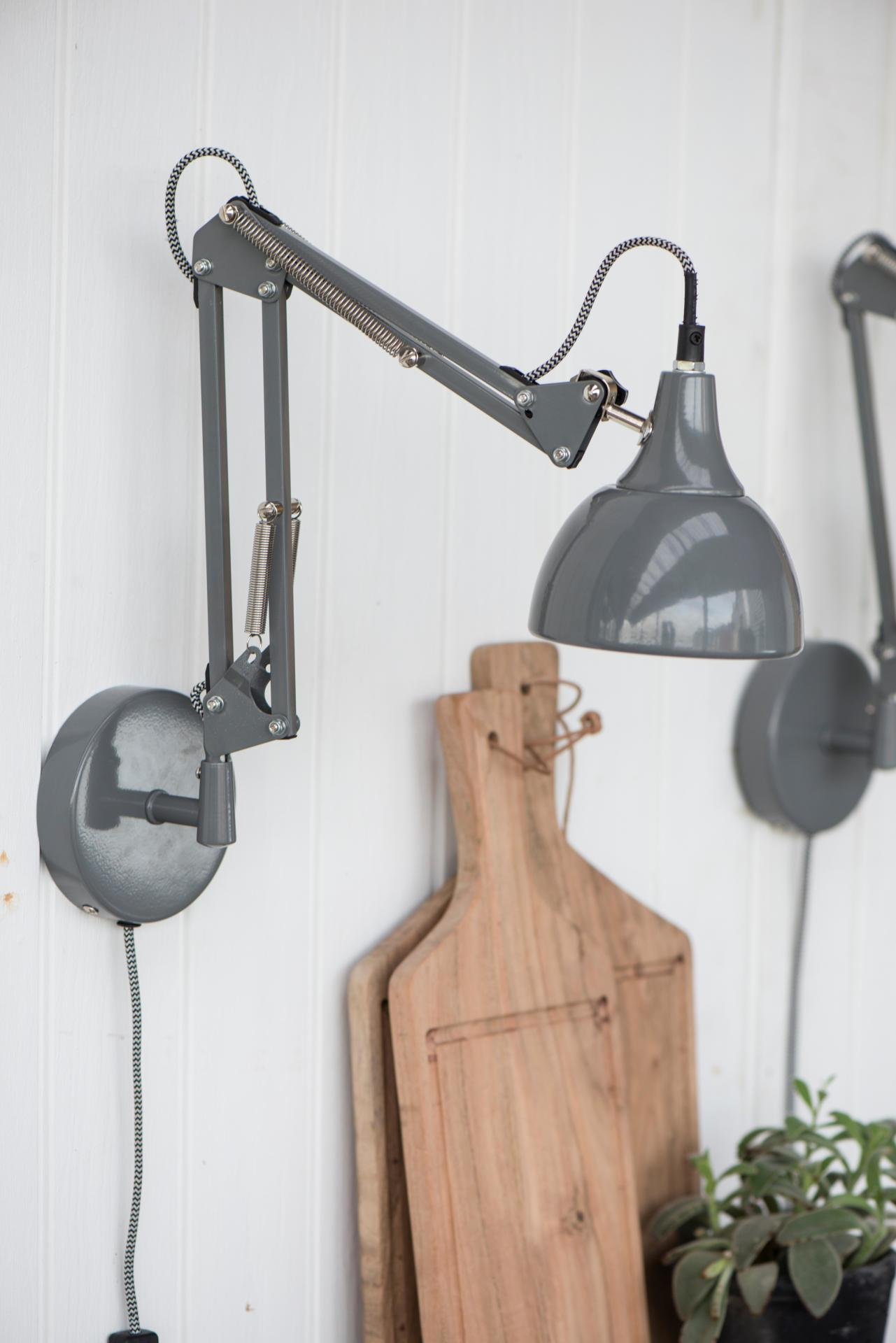 IB LAURSEN Nástěnná lampa Architect Model, šedá barva, kov