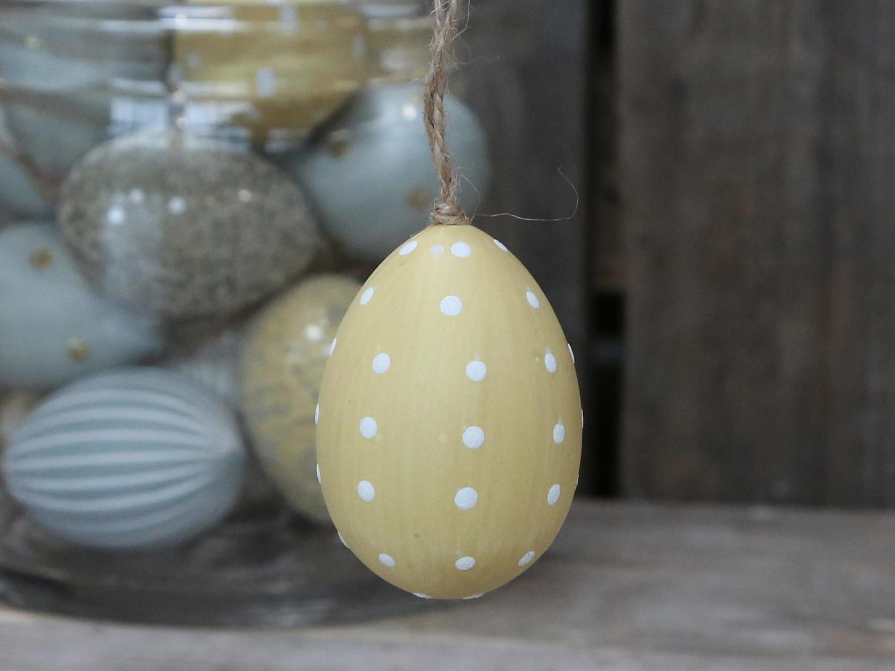 Chic Antique Závěsné plastové vejce Melon Dots, žlutá barva, bílá barva, plast