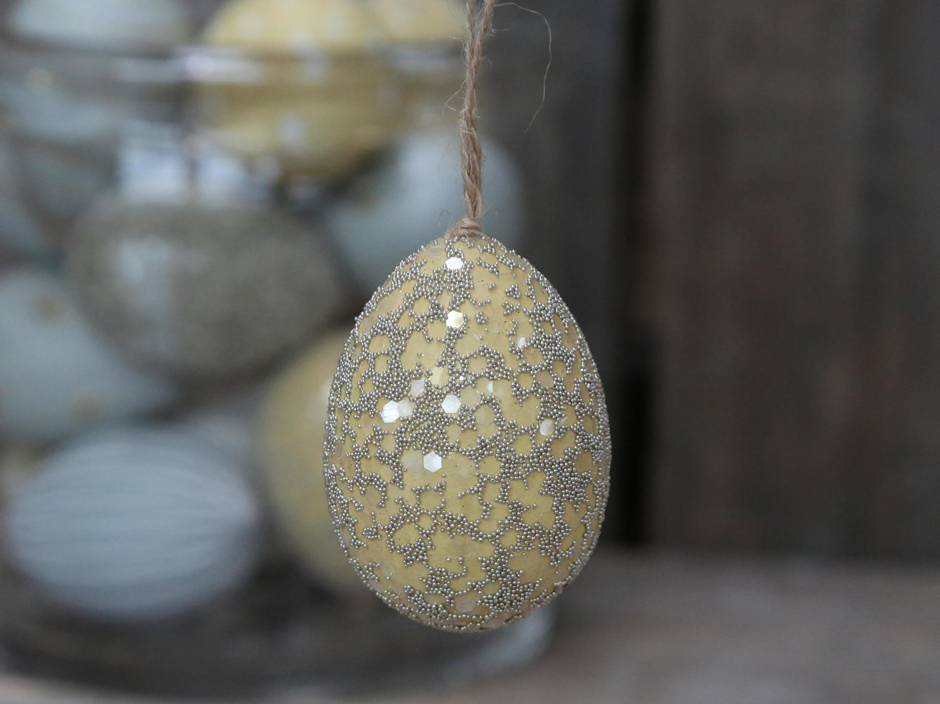 Chic Antique Závěsné plastové vejce Melon, žlutá barva, plast
