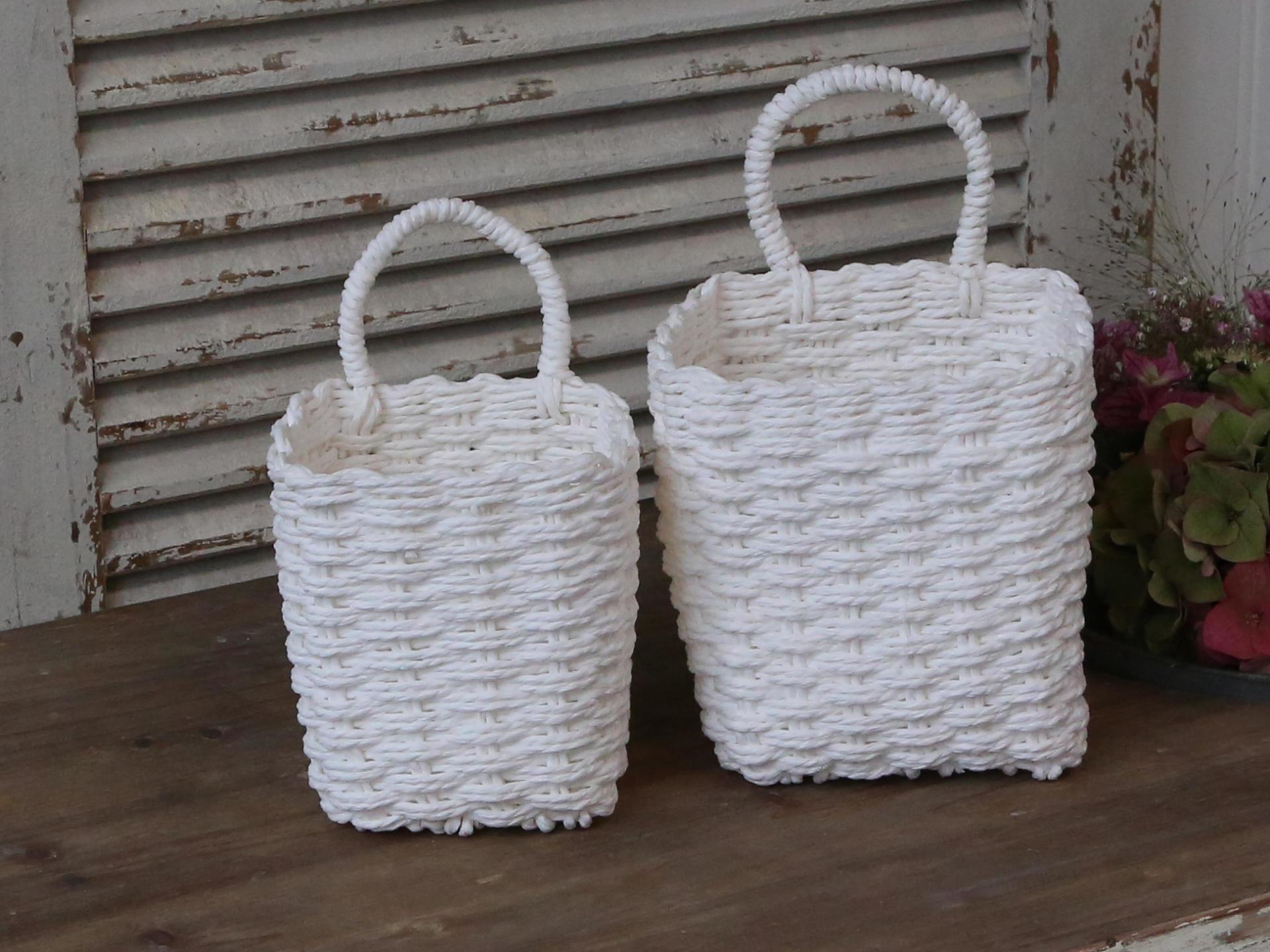 Chic Antique Košík z papírového provázku White - set 2ks, bílá barva, papír