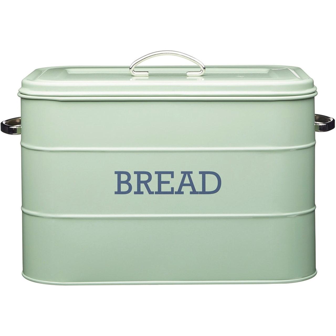 Kitchen Craft Kovový box na pečivo Bread Sage green, zelená barva, kov