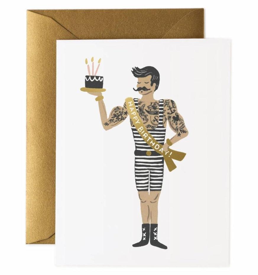 Rifle Paper Co. Přání k narozeninám Strongman, černá barva, bílá barva, zlatá barva, papír
