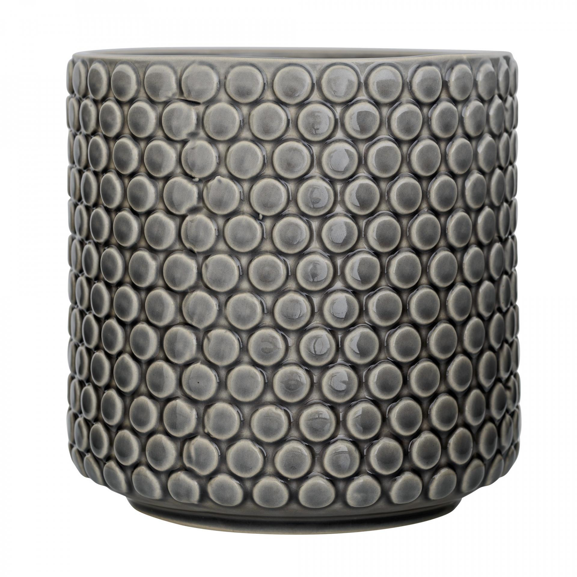 Bloomingville Keramický obal na květináč Grey, šedá barva, keramika