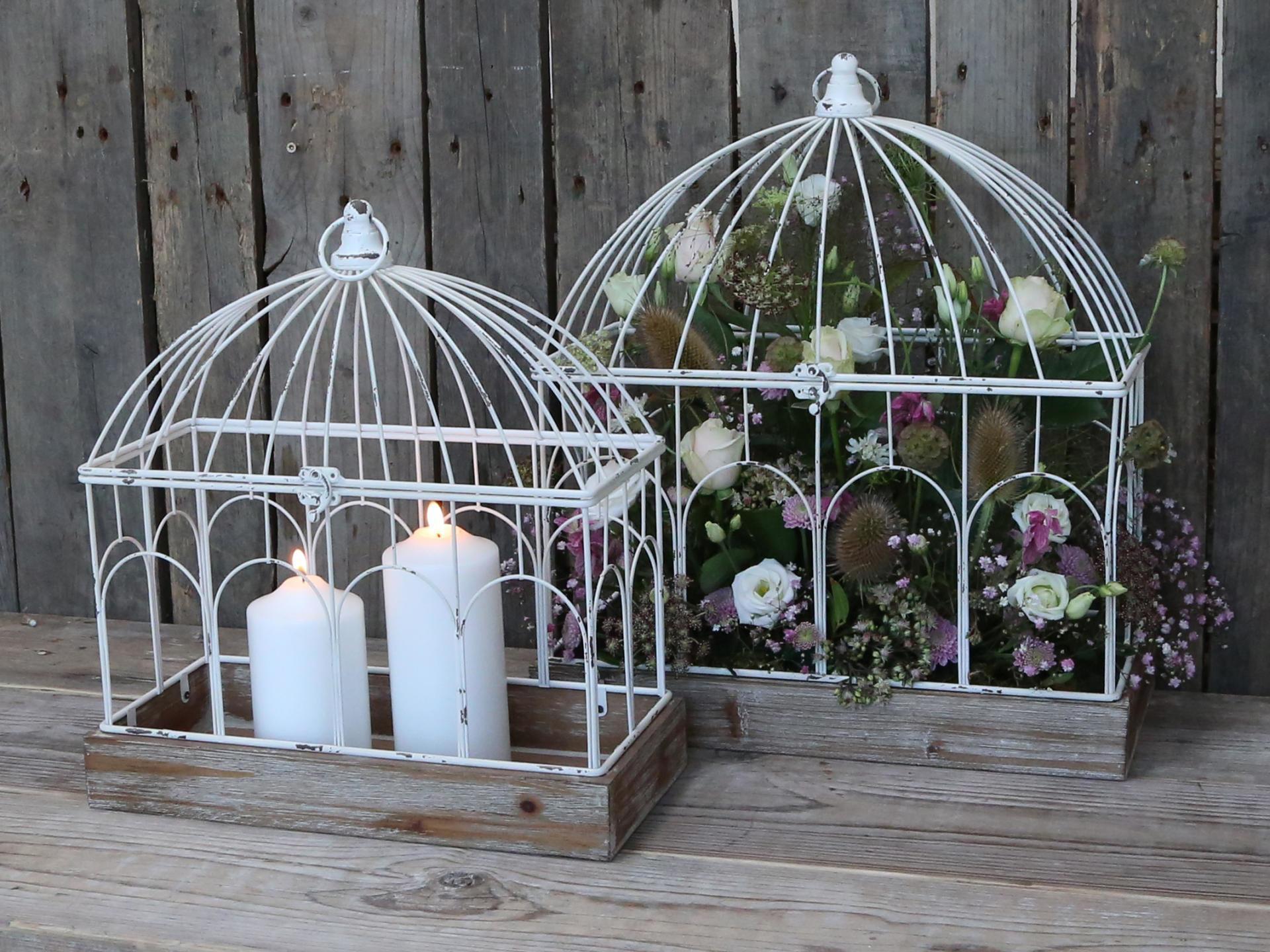 Chic Antique Drátěná klec na květinové dekorace Větší, bílá barva, přírodní barva, dřevo, kov