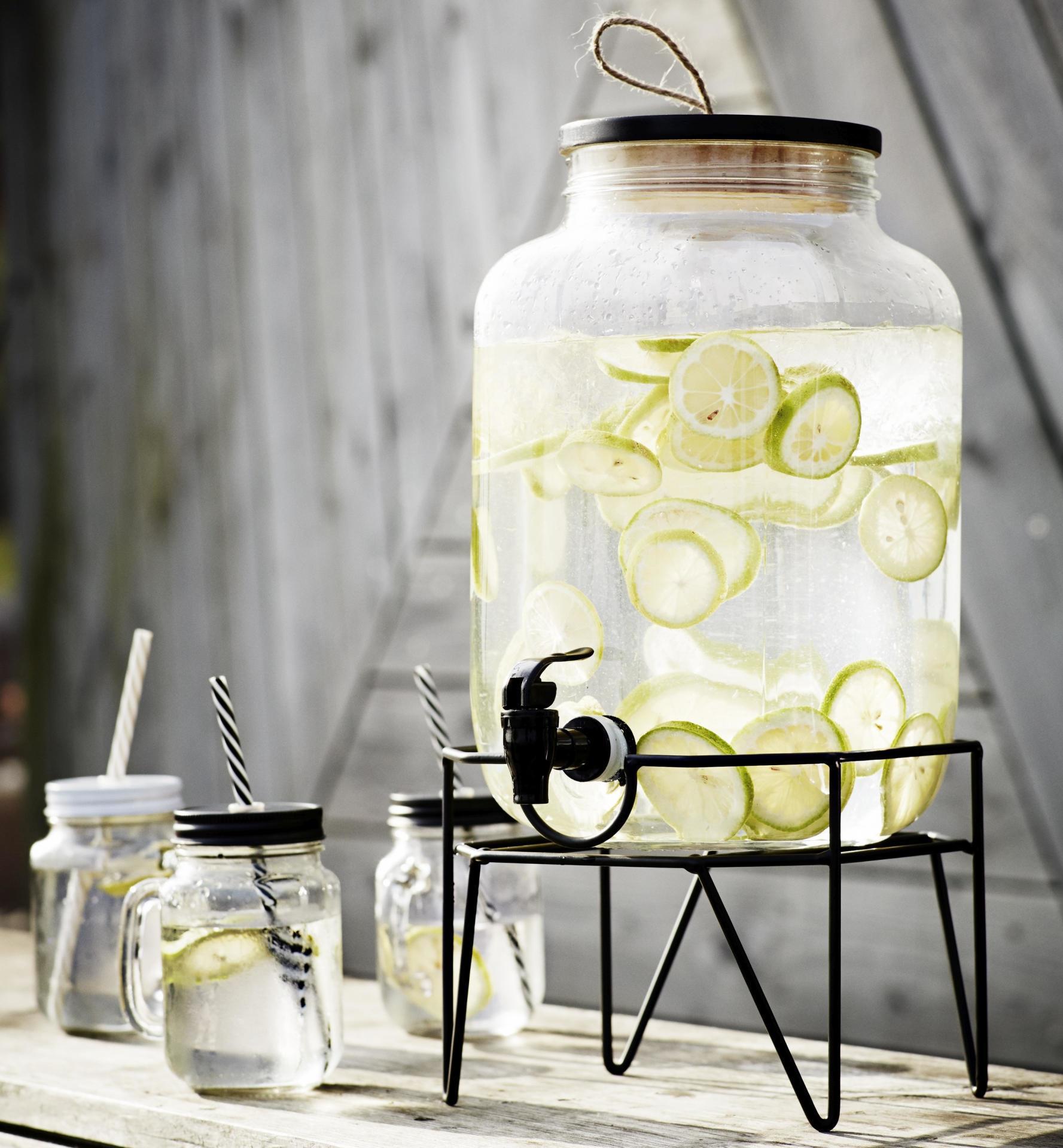 MADAM STOLTZ Nádoba na limonádu se stojanem Clear 8l, černá barva, čirá barva, sklo, dřevo, kov